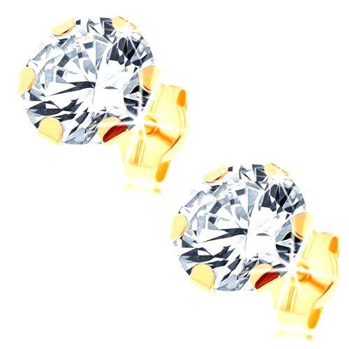 Náušnice zo žltého 14K zlata - veľký číry zirkón uchytený šiestimi paličkami