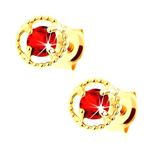 Náušnice zo žltého 14K zlata - vrúbkovaná kontúra kruhu