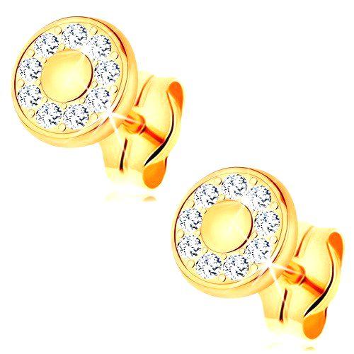 Náušnice zo žltého 14K zlata - žiarivý kruh z čírych zirkónov