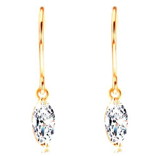 Náušnice zo žltého 14K zlata - žiarivý zrnkový diamant čírej farby