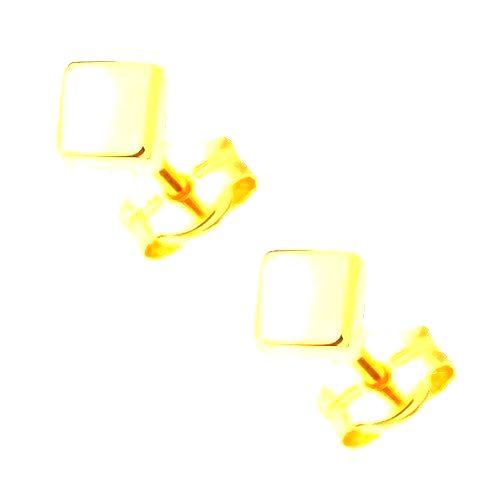 Náušnice zo žltého 14K zlata - zrkadlovolesklé hladké štvorce