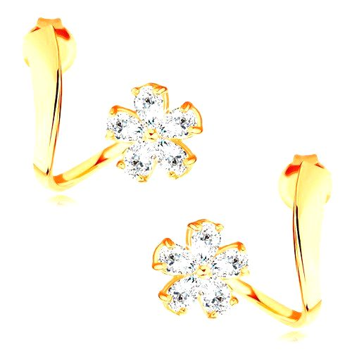 Náušnice zo žltého 14K zlata - zvlnená stuha