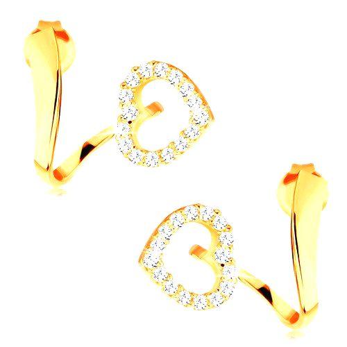 Náušnice zo žltého 14K zlata - zvlnená stuha s trblietavou kontúrou srdca