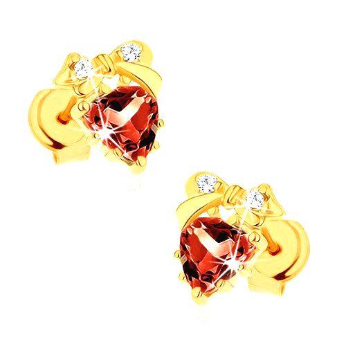Náušnice zo žltého 9K zlata - červené srdce z granátu