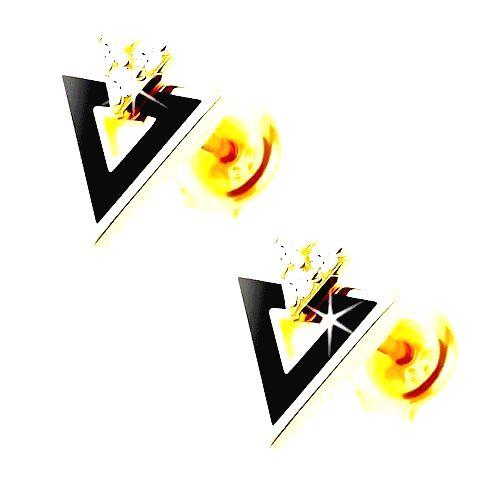 Náušnice zo žltého 9K zlata - čierny trojuholník s výrezom