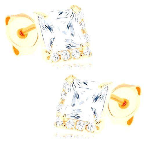 Náušnice zo žltého 9K zlata - číry štvorcový zirkón