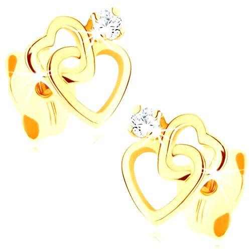 Náušnice zo žltého 9K zlata - dve tenké srdcové kontúry