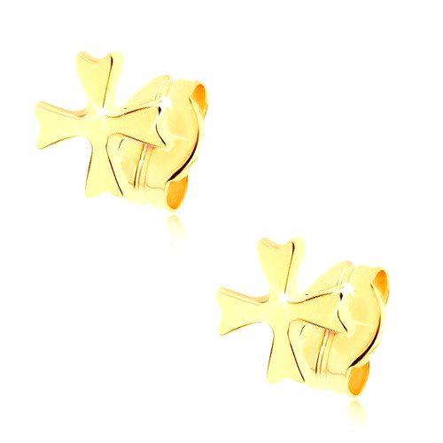 Náušnice zo žltého 9K zlata - lesklý maltézsky kríž