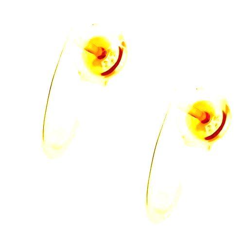 Náušnice zo žltého 9K zlata - lesklý nesúmerný oblúk