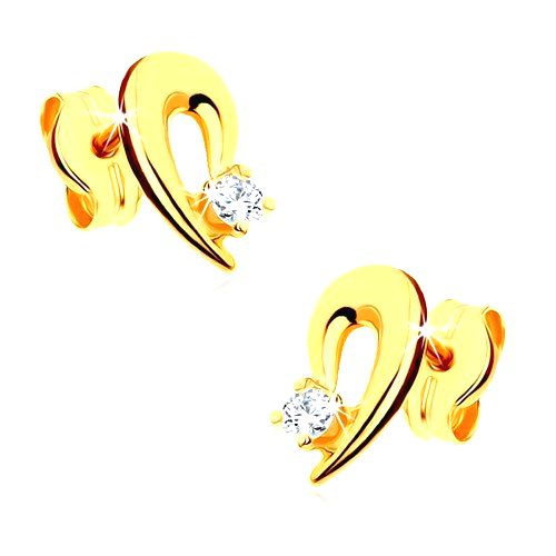 Náušnice zo žltého 9K zlata - obrys polovice srdca zdobený čírym kamienkom