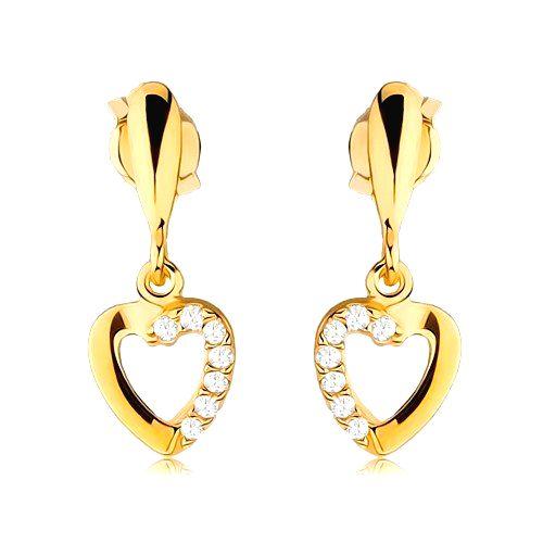 Náušnice zo žltého 9K zlata - obrys srdca so zirkónovou polovicou