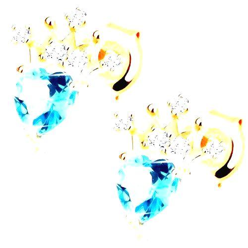 Náušnice zo žltého 9K zlata - srdiečkový modrý topás
