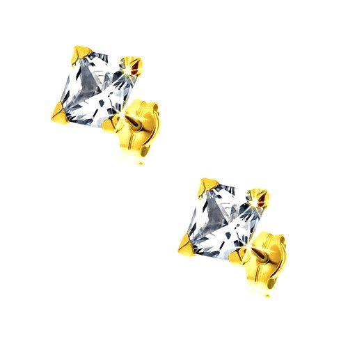 Náušnice zo žltého 9K zlata - trblietavý štvorcový zirkón čírej farby