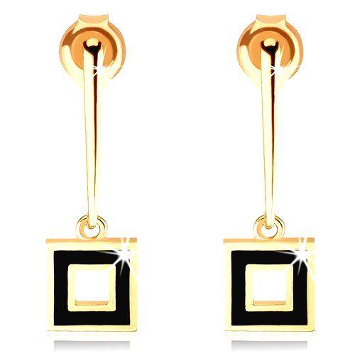 Náušnice zo žltého 9K zlata - úzka palička s obrysom štvorca
