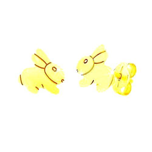 Náušnice zo žltého 9K zlata - zrkadlovolesklý skákajúci zajačik