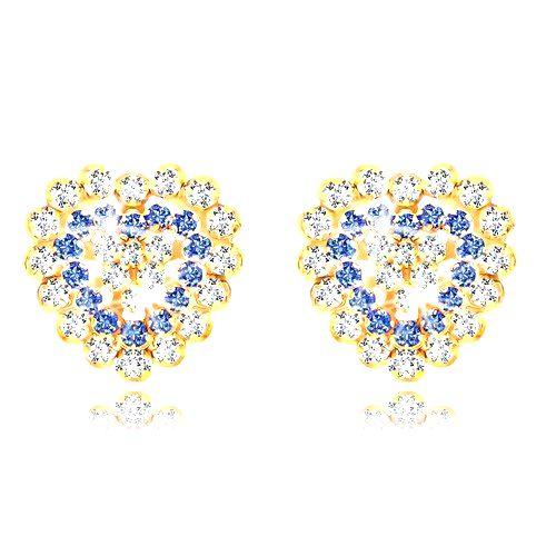 Náušnice zo žltého zlata 375 - ligotavé zirkónové srdce