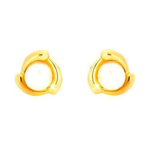 Náušnice zo žltého zlata 375 - slzičkový trojuholník a sladkovodná perla