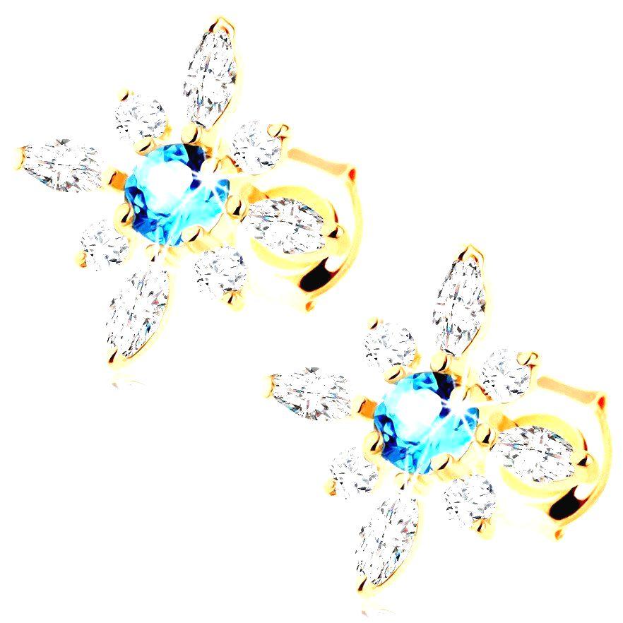 Náušnice zo žltého zlata 585 - kvietok z čírych zirkónov a modrého topásu