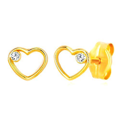 Náušnice zo žltého zlata 585 - srdce s prírodnou perleťou a zirkónom