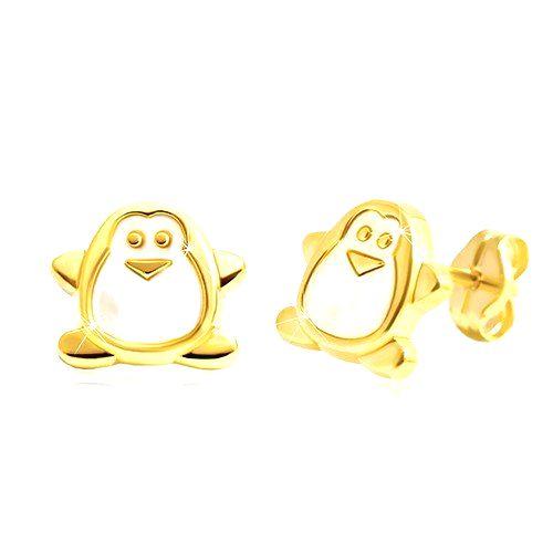 Náušnice zo žltého zlata 585 - tučniak s bielou perleťou