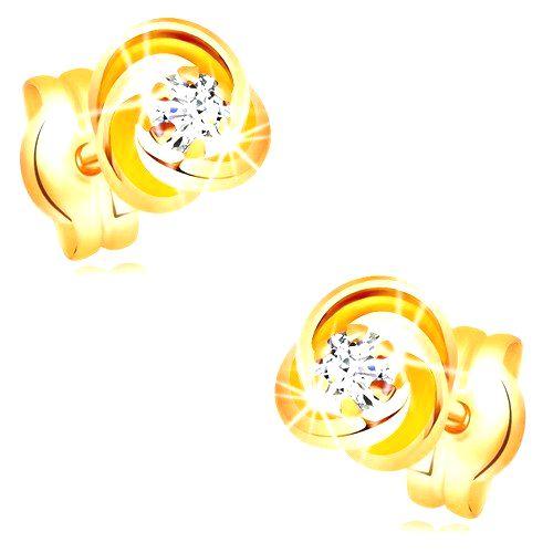 Náušnice zo žltého zlata 585 - uzol z troch prstencov