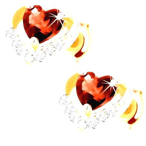Náušnice zo žltého zlata 585 - zirkónový obrys srdca