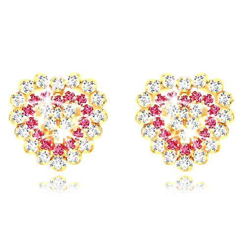 Náušnice zo žltého zlata 9K - ligotavé zirkónové srdce