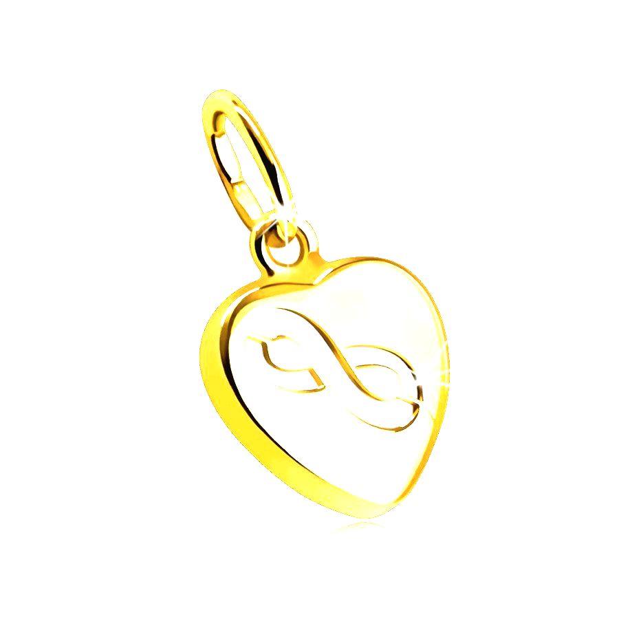 Obojstranný prívesok z 9K zlata - motív srdiečka z perlete v tenkej hladkej objímke