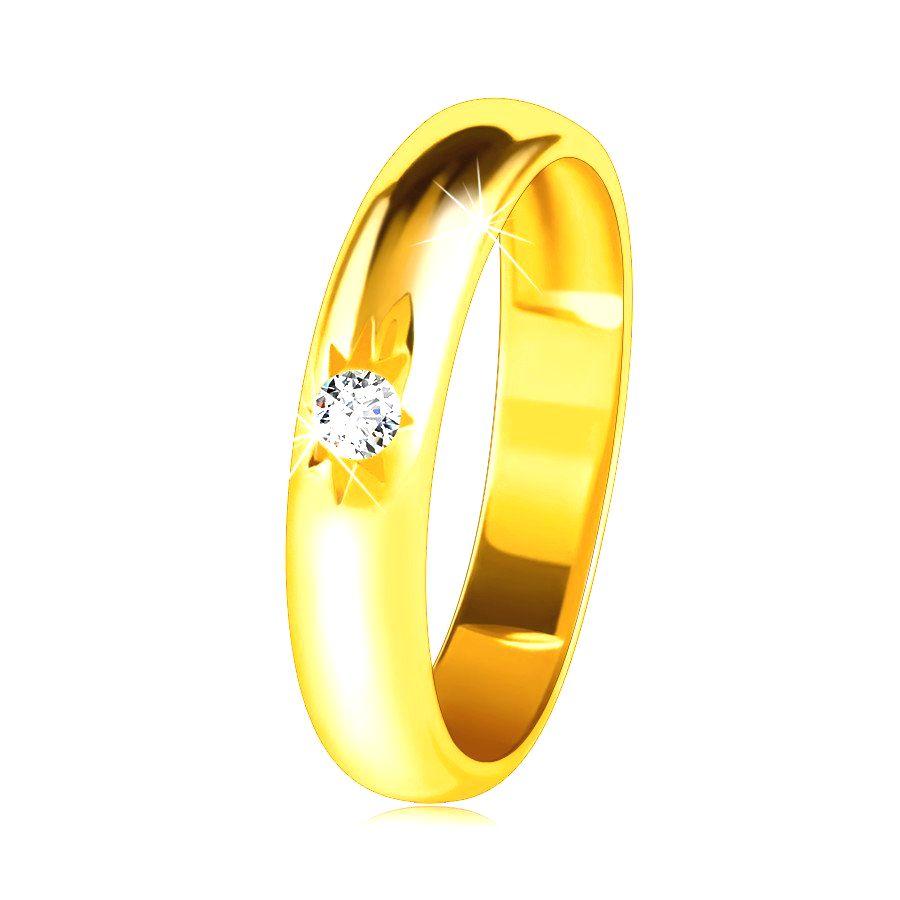 Obrúčka v žltom 14K zlate so zaobleným povrchom