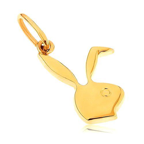 Plochý prívesok zo žltého 9K zlata - hlava zajačika