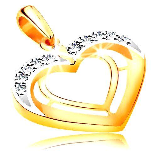 Prívesok v 14K zlate - dve srdcové kontúry v dvojfarebnom prevedení