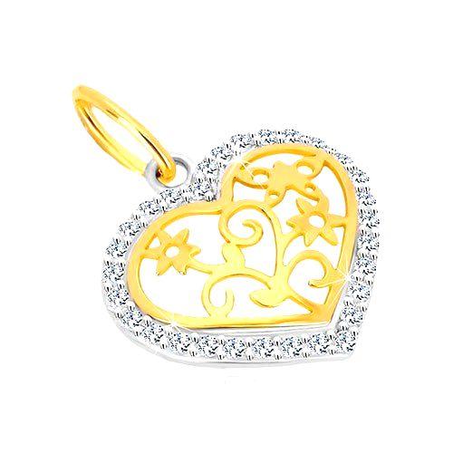 Prívesok v 14K zlate - kontúra srdca so zirkónmi