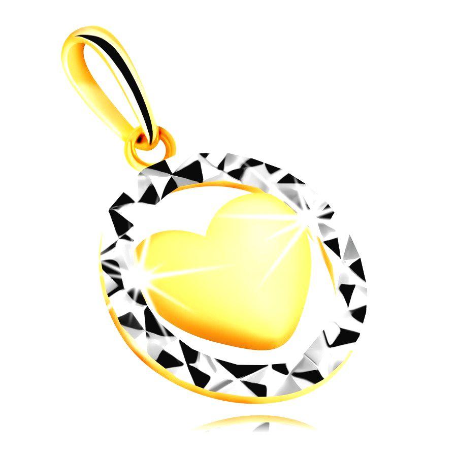 Prívesok v 585 kombinovanom zlate - obrys kruhu s trojuholníkovým rezom