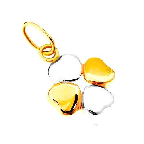 Prívesok v kombinovanom 14K zlate - dvojfarebný štvorlístok pre šťastie
