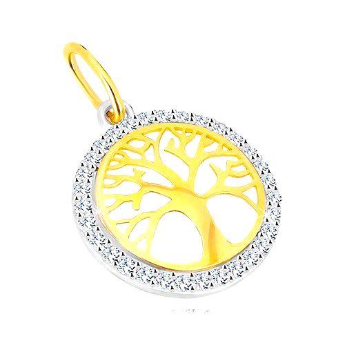 Prívesok v kombinovanom 14K zlate - kruh so stromom života