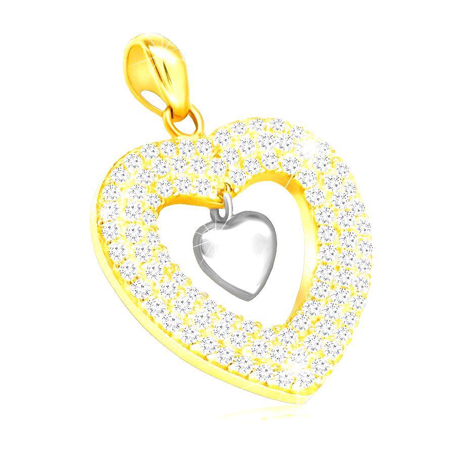 Prívesok v kombinovanom 375 zlate - srdce vykladané čírymi zirkónmi