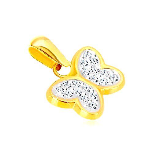 Prívesok v kombinovanom zlate 585 - lesklý motýlik so zirkónikmi