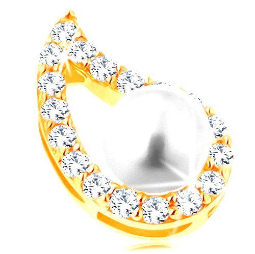 Prívesok v žltom 14K zlate - asymetrický obrys kvapky