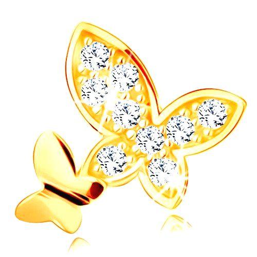 Prívesok v žltom 14K zlate - dva motýle - hladký a vykladaný zirkónmi