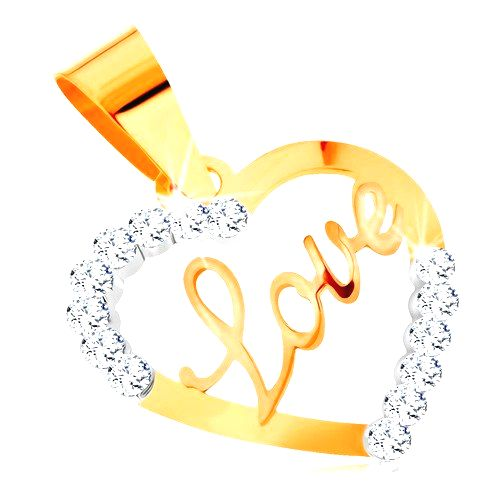 Prívesok v žltom 14K zlate - kontúra srdca s nápisom v strede a zirkónikmi