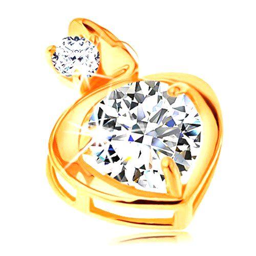 Prívesok v žltom 14K zlate - obrys srdca s veľkým a malým zirkónom čírej farby