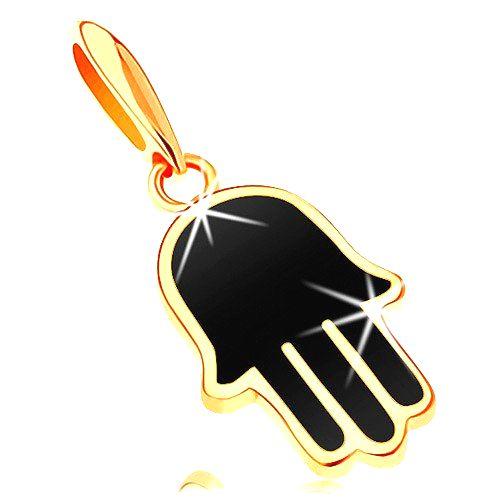 Prívesok v žltom 14K zlate - ruka Hamsa pokrytá čiernou glazúrou
