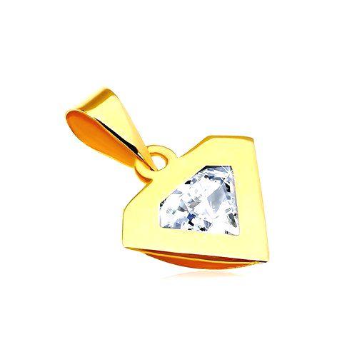 Prívesok v žltom 14K zlate - silueta diamantu