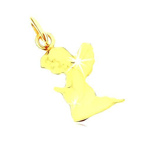 Prívesok v žltom 9K zlate - gravírovaný modliaci sa anjelik