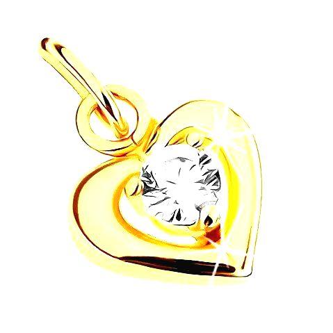 Prívesok v žltom 9K zlate - lesklá línia symetrického srdiečka