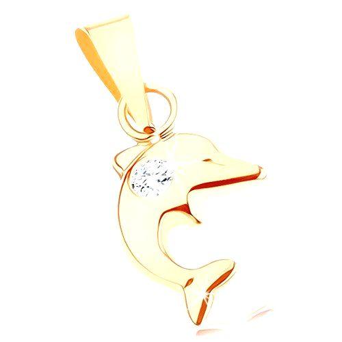 Prívesok v žltom 9K zlate - malý skáčuci delfín