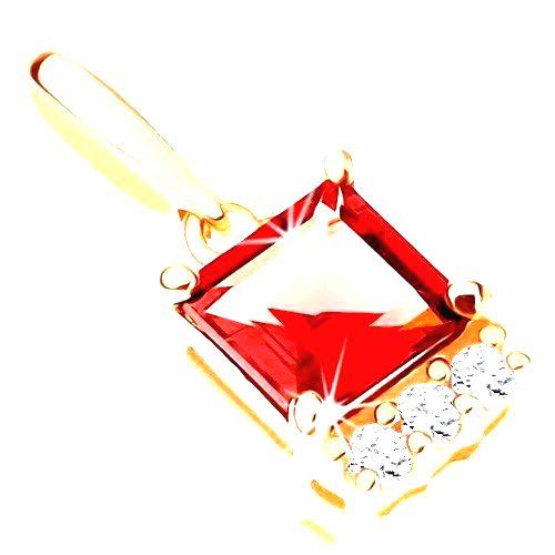 Prívesok v žltom 9K zlate - štvorcový červený granát