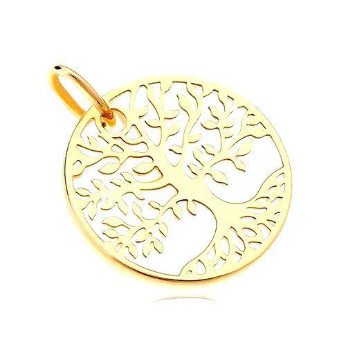 Prívesok v žltom zlate 585 - biely perleťový kruh so stromom života