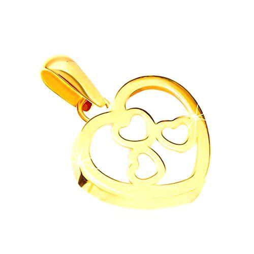 Prívesok v žltom zlate 585 - lesklý obrys srdca s perleťou