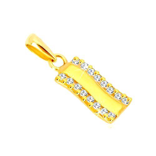 Prívesok v žltom zlate 585 - lesklý zvlnený pás